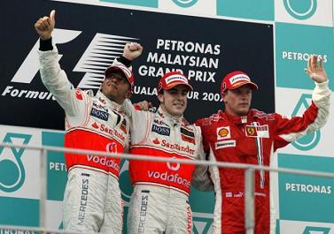F1, G.P. di Malesia, i primi tre classificati