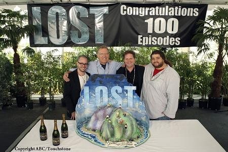"Damon Lindelof (co-creator/executive producer), Carlton Cuse (co-creator/executive producer), Stephen McPherson (president, ABC Entertainment Group) and Jorge Garcia (""Hurley"") celebrated the 100th episode of ""Lost"""